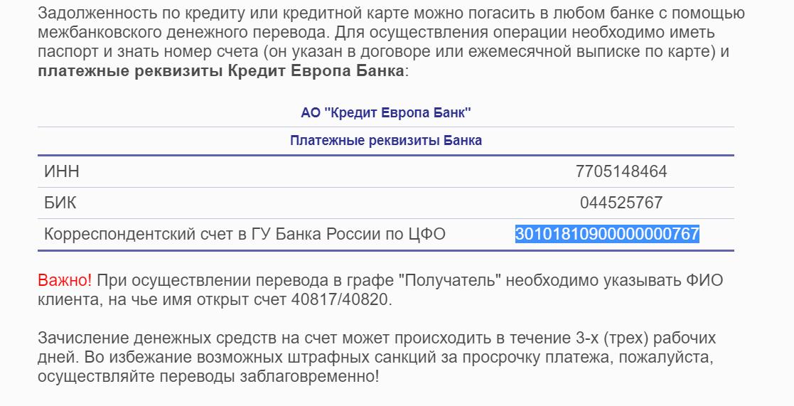 Кредит европа инн